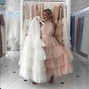 Chiffon Vivian Gown in Blush Pink S